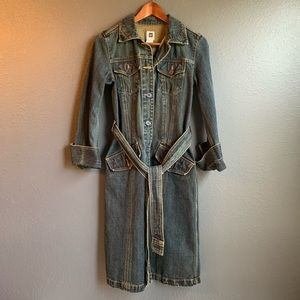 GAP Womens Long Denim Trench Coat Belted Sz Small